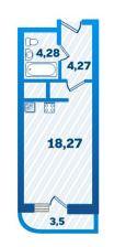 Планировка Студия площадью 29.47 кв.м в ЖК «Девятый Вал»