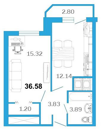 Планировка Однокомнатная квартира площадью 38.1 кв.м в ЖК «Девятый Вал»