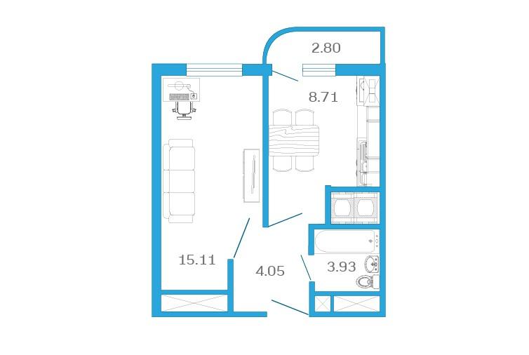 Планировка Однокомнатная квартира площадью 33.2 кв.м в ЖК «Девятый Вал»