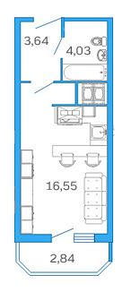 Планировка Студия площадью 25.6 кв.м в ЖК «Девятый Вал»