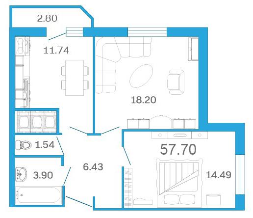 Планировка Двухкомнатная квартира площадью 57.7 кв.м в ЖК «Девятый Вал»