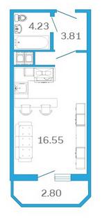 Планировка Студия площадью 25.43 кв.м в ЖК «Девятый Вал»