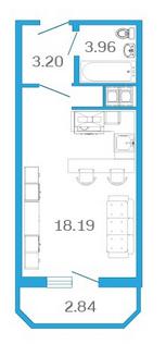 Планировка Студия площадью 26.77 кв.м в ЖК «Девятый Вал»