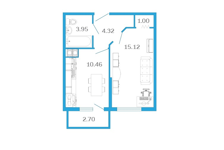 Планировка Однокомнатная квартира площадью 36.2 кв.м в ЖК «Девятый Вал»