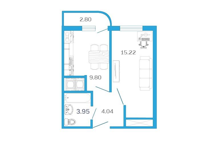 Планировка Однокомнатная квартира площадью 34.41 кв.м в ЖК «Девятый Вал»
