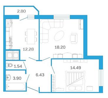 Планировка Двухкомнатная квартира площадью 58.24 кв.м в ЖК «Девятый Вал»