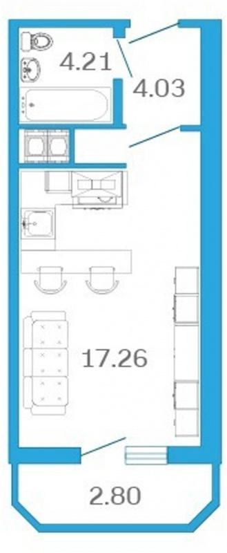 Планировка Однокомнатная квартира площадью 25.6 кв.м в ЖК «Девятый Вал»