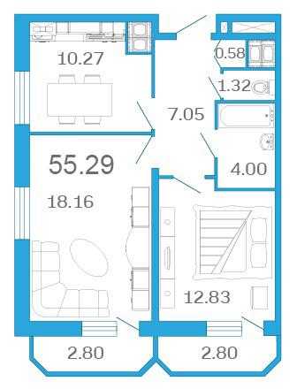 Планировка Двухкомнатная квартира площадью 55.29 кв.м в ЖК «Девятый Вал»
